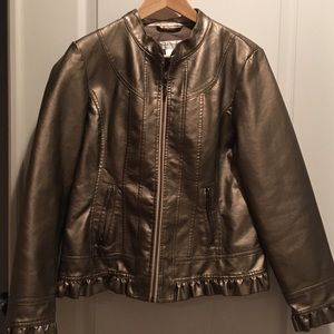Women's medium metallic ruffle detail jacket